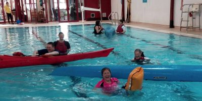 kayaks in swimming pool